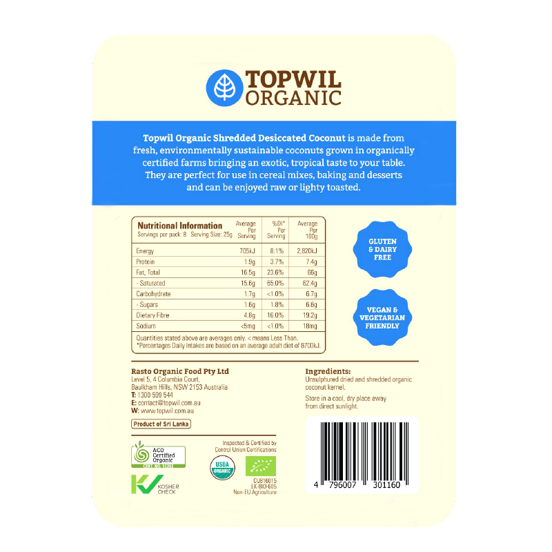 Topwil Organic Desiccated Coconut Shredded 200g