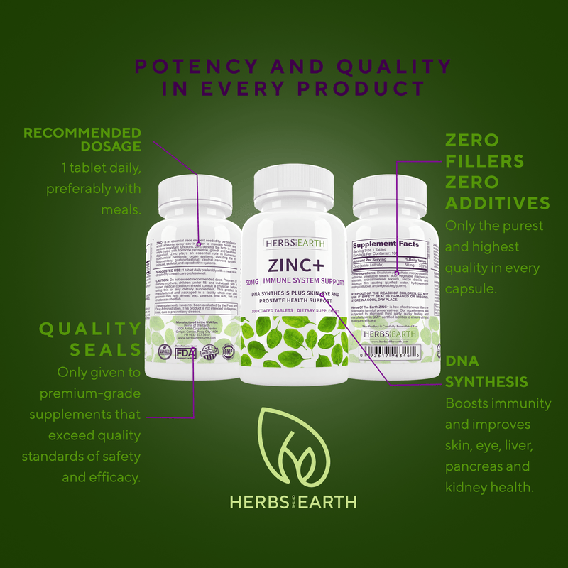 Herbs of the Earth Zinc+ Immune Support 50mg 100's
