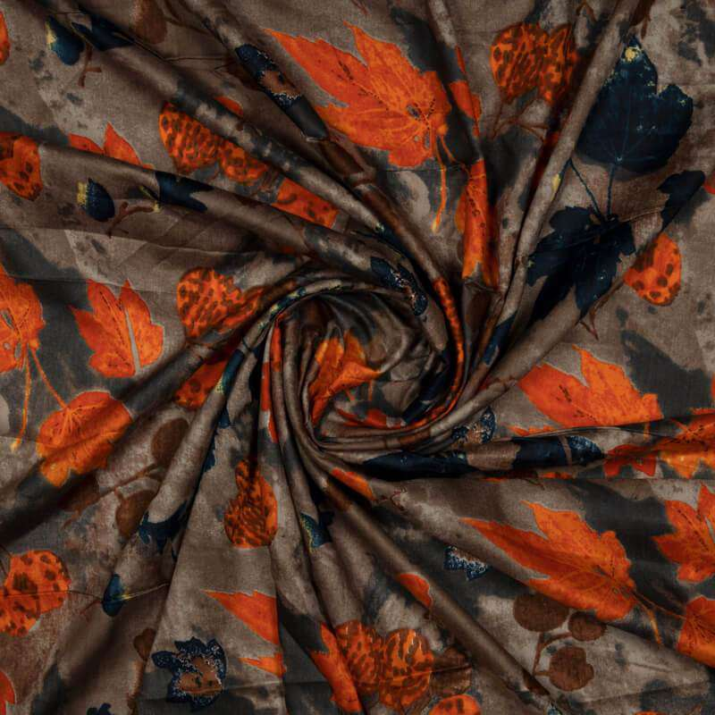 Dark Brown Floral Pattern Cotton Fabric