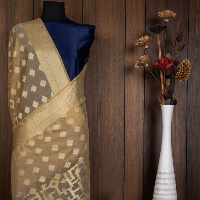 Cream Ethnic Pattern Jacquard Chanderi Dupatta