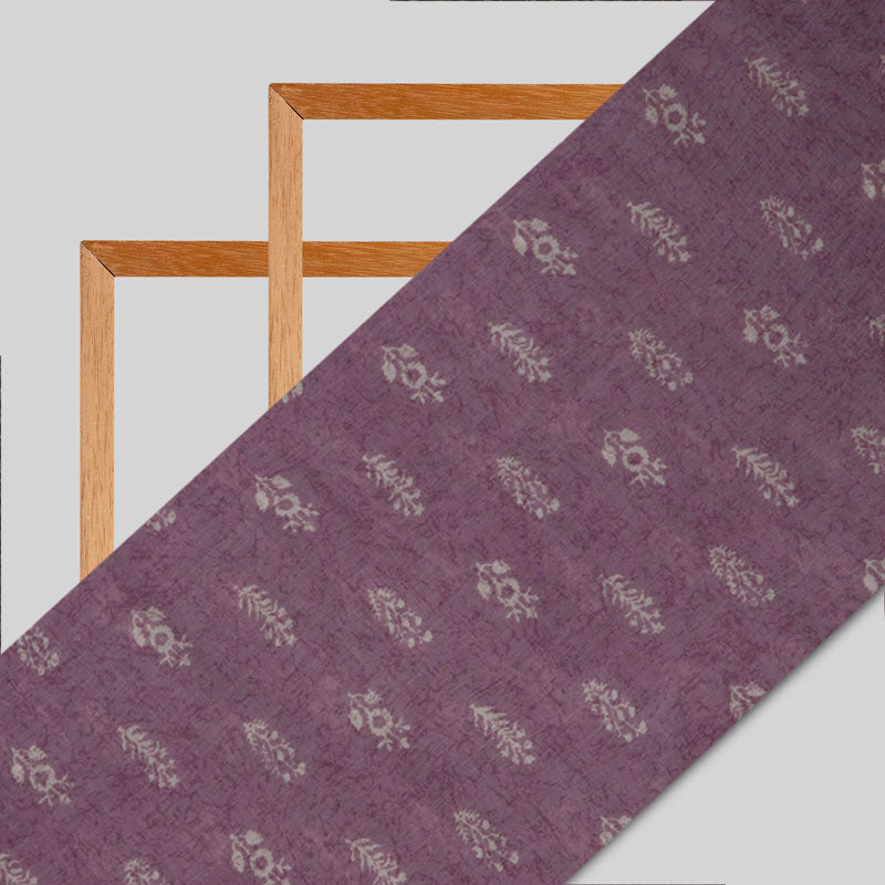 Purple Ethnic Pattern Premium Muslin Fabric