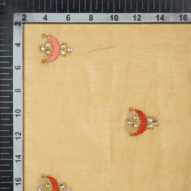 Light Beige Butti Pattern Embroidery Chanderi Fabric