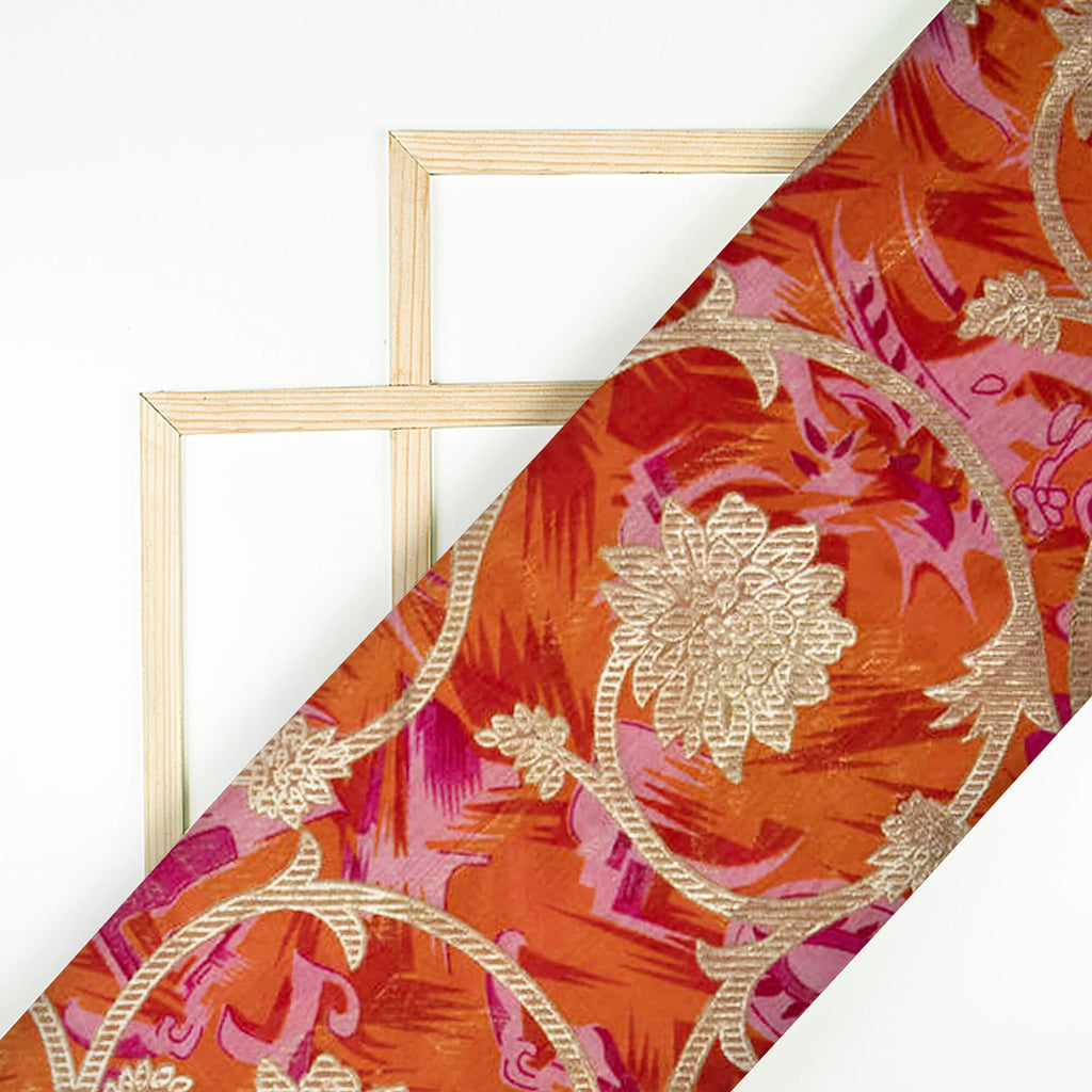 Pink And Orange Ethnic Pattern Foil Printed Art Silk Fabric
