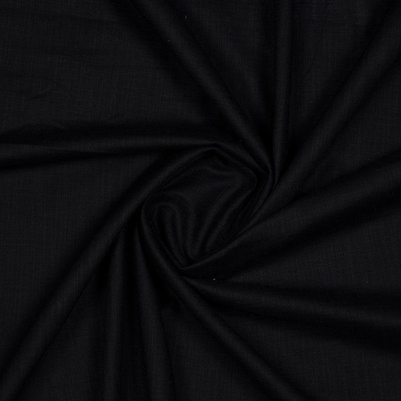 Black Plain Rayon Slub Fabric