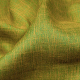 Green And Orange Weaved Dual Tone Plain Rayon Slub Fabric - Fabcurate