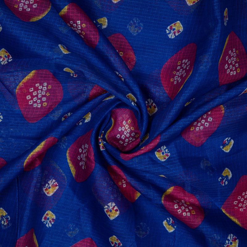 Royal Blue Bandhani Pattern Kota Doria Fabric
