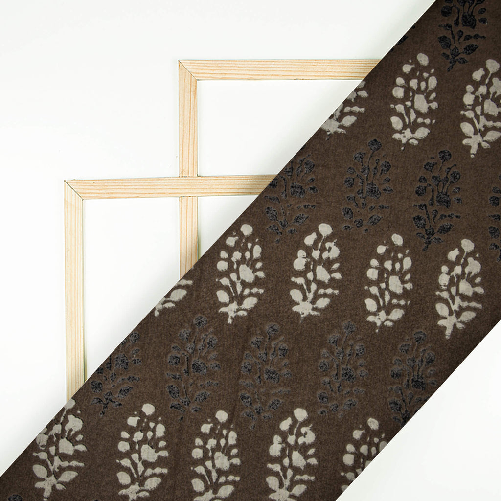 Brown And Off White Batik Pattern Screen Print Cotton Fabric - Fabcurate