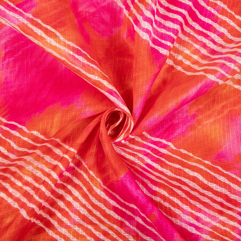 Fuchsia Pink And White Leheriya Pattern Screen Print Kota Doria Fabric - Fabcurate