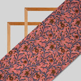 Dark Peach And Blue Floral Pattern Viscose Muslin Fabric