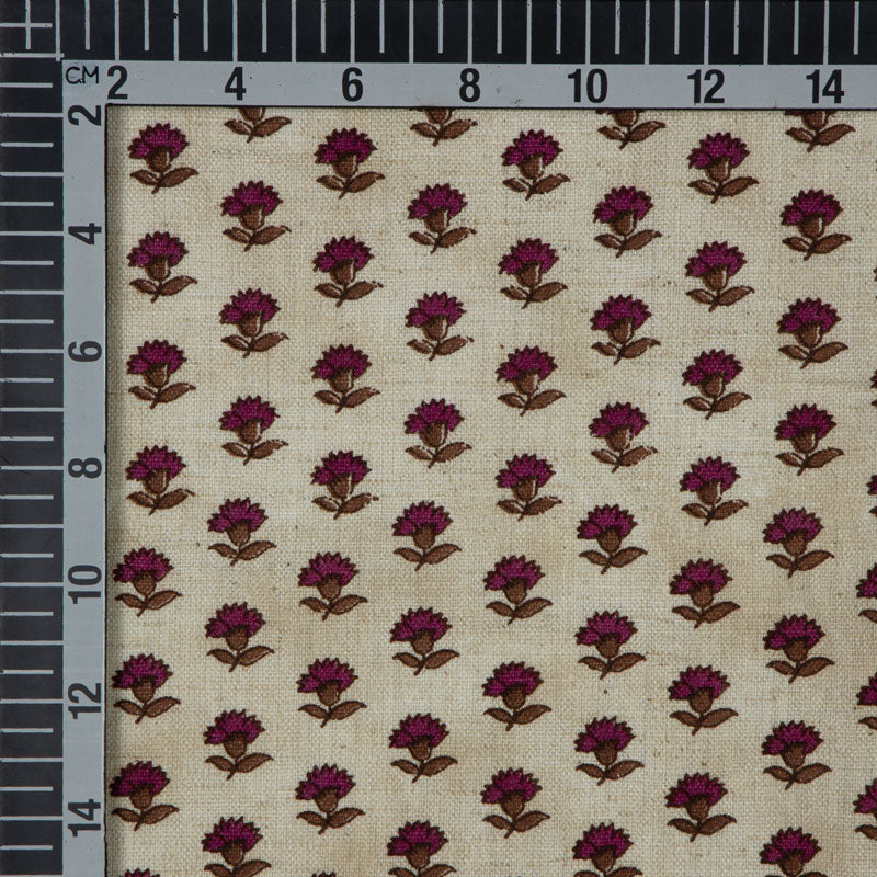 Cream And Maroon Floral Flex Cotton Fabric - Fabcurate