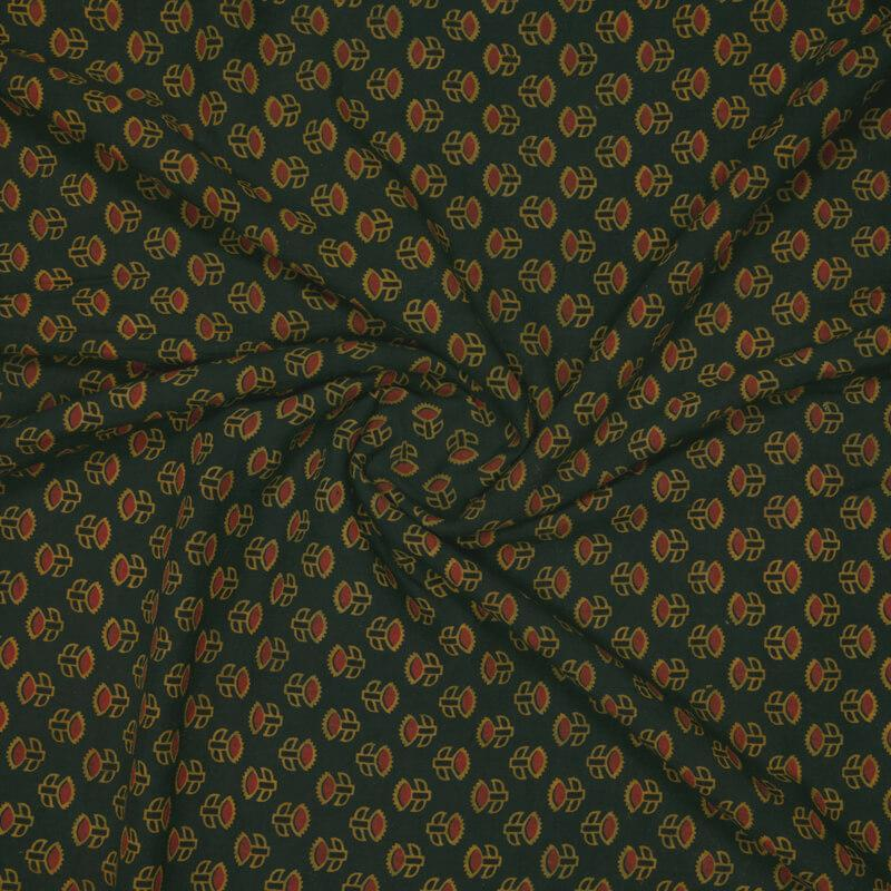 Bottle Green Floral Booti Pattern Ajrakh Screen Print Natural Dye Cotton Fabric - Fabcurate