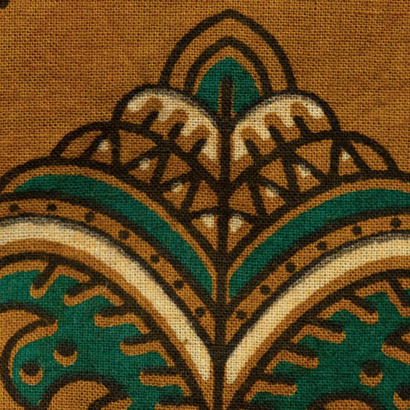Light Brown Mughal Pattern Ajrakh Screen Print Natural Dye Cotton Fabric