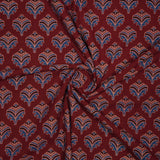 Maroon Mughal Pattern Ajrakh Screen Print Natural Dye Cotton Fabric