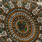 Beige And Black Kalamkari Print Cotton Fabric