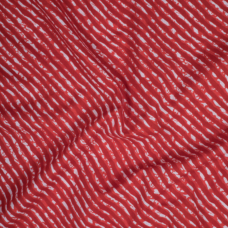 Red And White Leheriya Screen Print Cotton Fabric