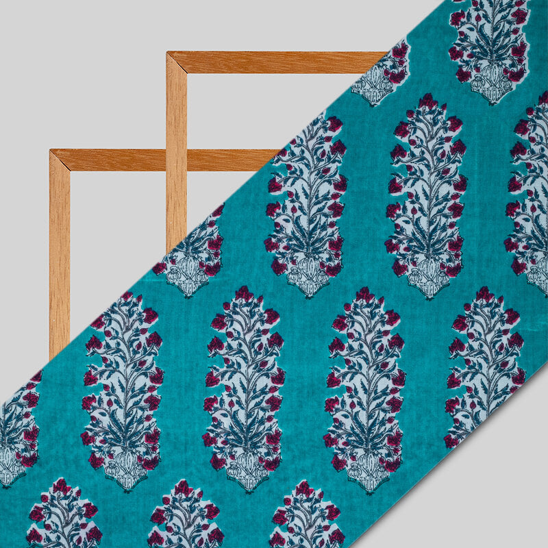 Teal Mughal Floral Pattern Screen Print Cotton Fabric