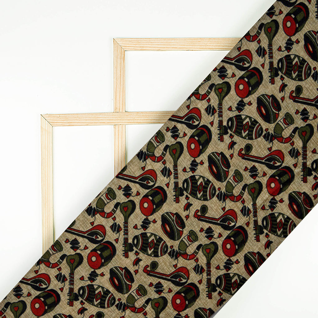 Red And Olive Object Pattern Art Silk Lustrous Fabric - Fabcurate