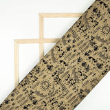 (Pre-Cut 2 Meter) Beige Tribal Pattern Art Silk Lustrous Fabric - Fabcurate