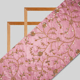 Crepe Pink Floral Pattern Heavy Embroidery Taffeta Silk Fabric - Fabcurate