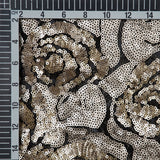 Black And Golden Heavy Sequins Premium Net Fabric
