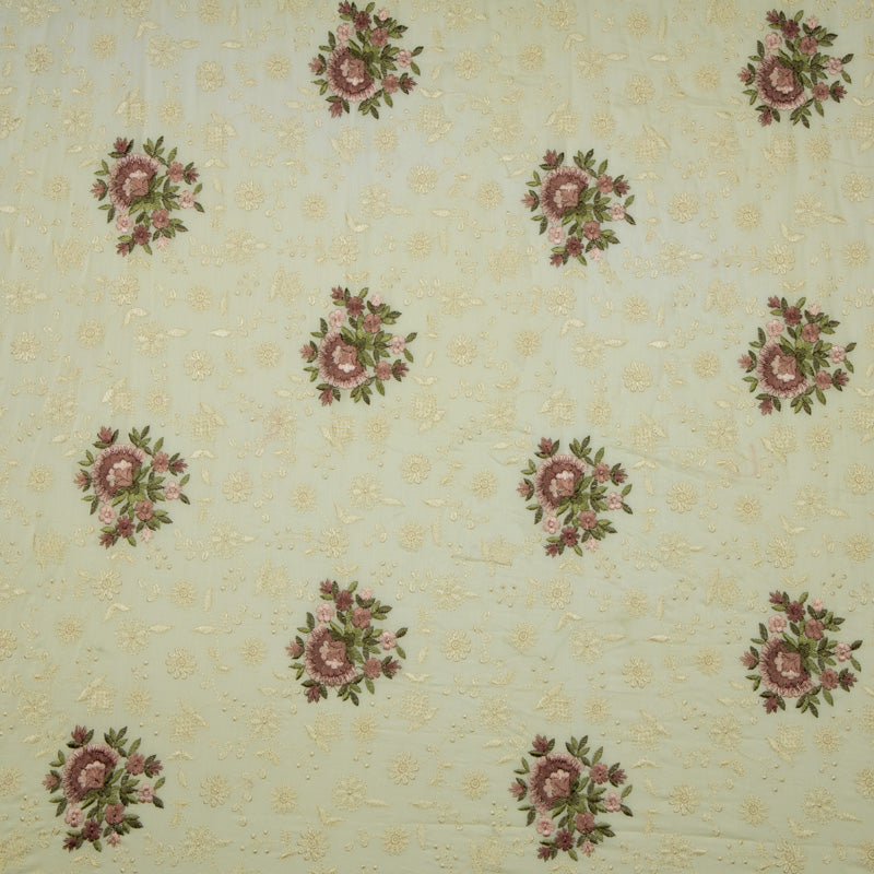 Cream Floral Pattern Heavy Embroidery Cotton Fabric