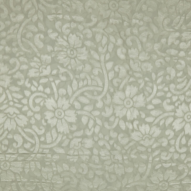 White Floral Pattern Brasso Fabric