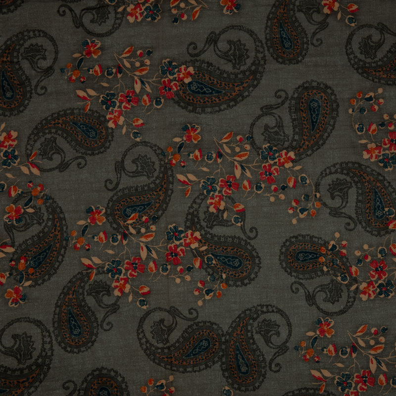 Dark Grey Floral And Ethnic Screen Print Cotton Slub Fabric