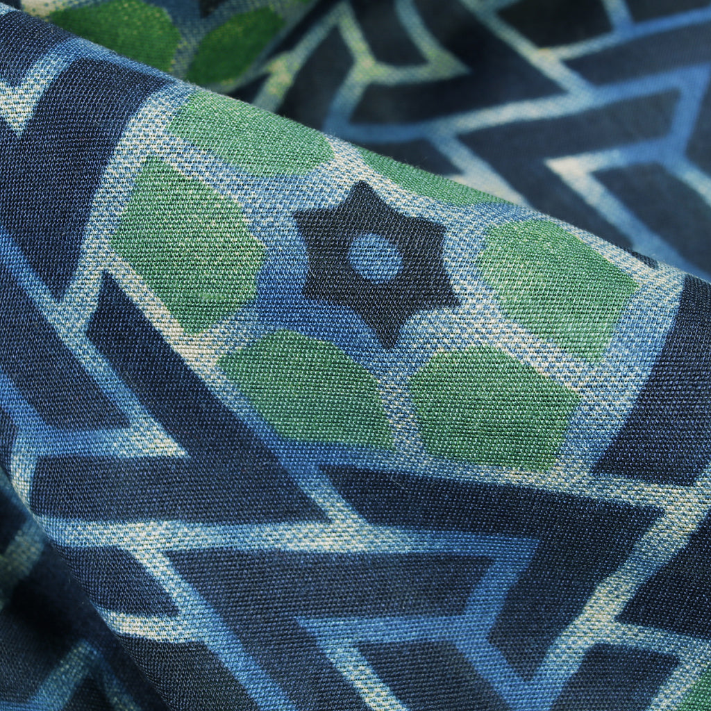 Aegean Blue And Celeste Blue Geometric Pattern Screen Print Chanderi Fabric