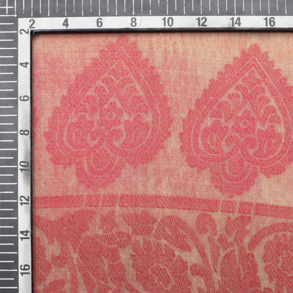 Peach Ethnic Pattern Brasso Fabric