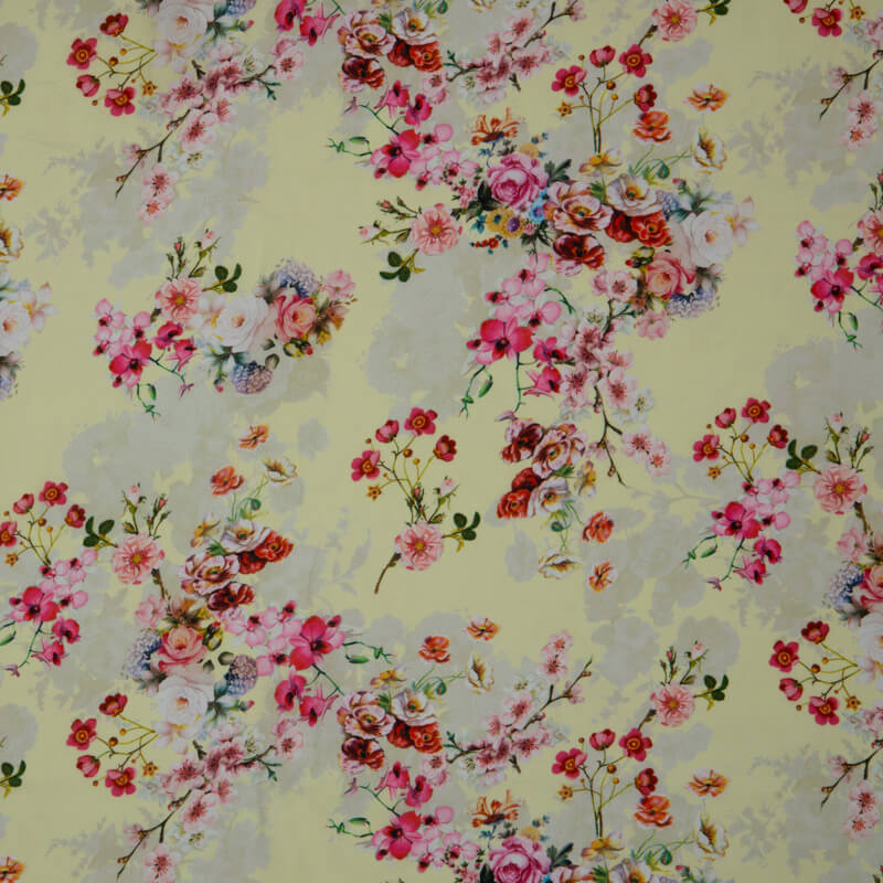 Pastel Yellow Beautiful Floral Print On Crepe Silk Fabric