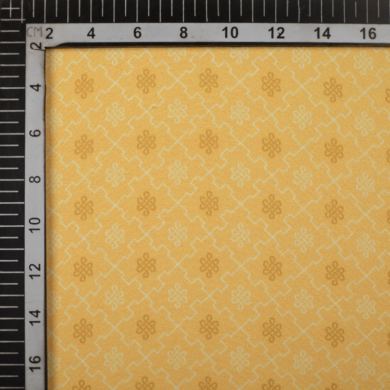 Mellow Yellow And Beige Checks Pattern Digital Print Crepe Fabric