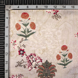 Greenish Grey And Orrange Floral Pattern Digital Print Satin Fabric (Width 56 Inches)