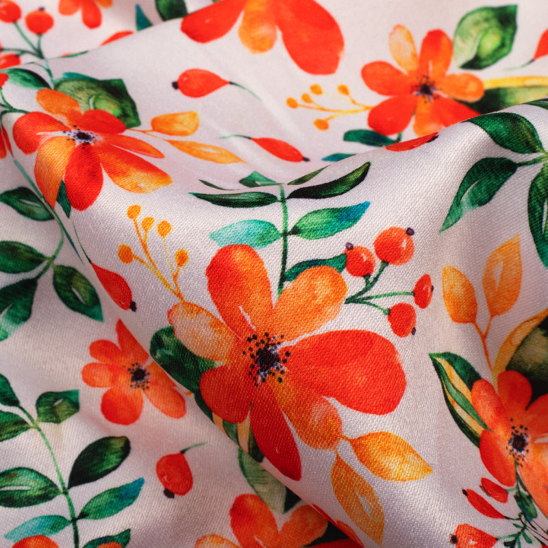 White And Orange Floral Pattern Digital Print Twill Fabric