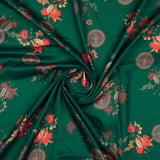 Green And Orange Floral Pattern Digital Print Silk Fabric