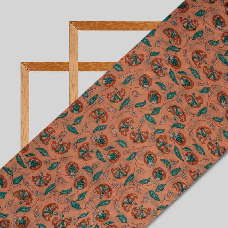 Orange Leaf Pattern Viscose Muslin Fabric