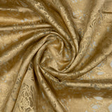 Yellow Ochre Floral Pattern Foil Organza Brasso Fabric