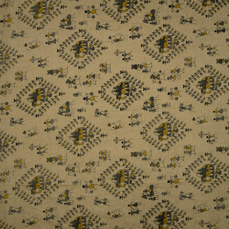 Beige Royal Tribal Print Over Manipuri Fabric