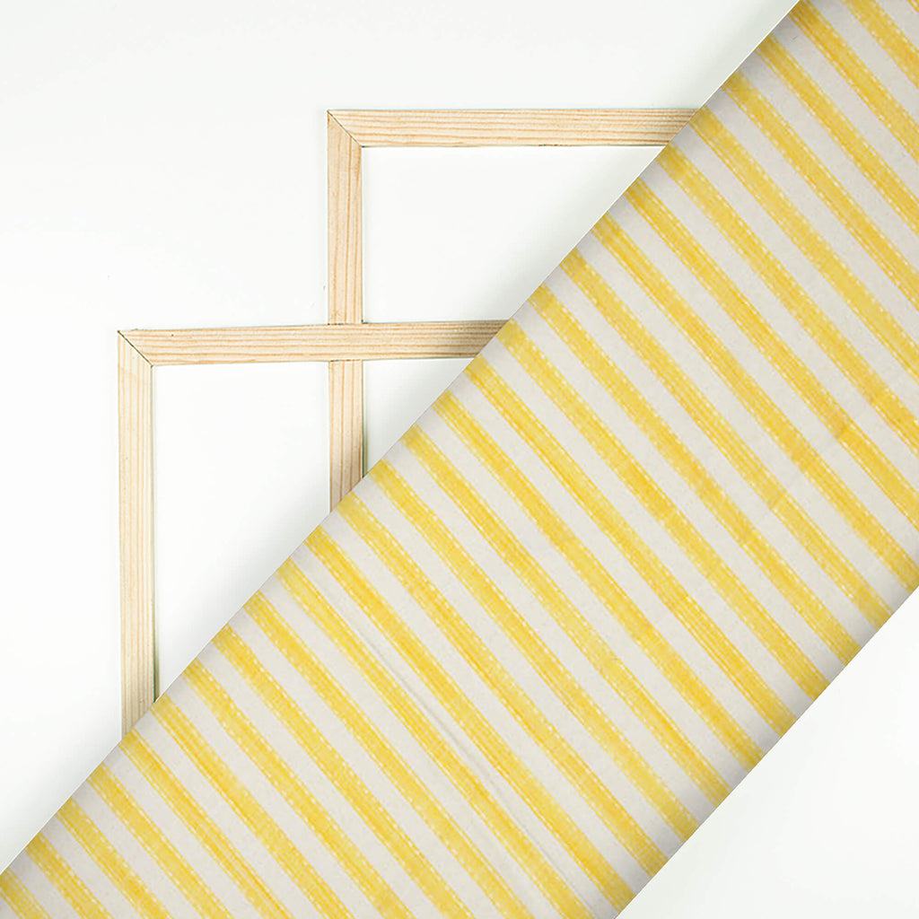 Yellow And White Stripes Pattern Cotton Fabric