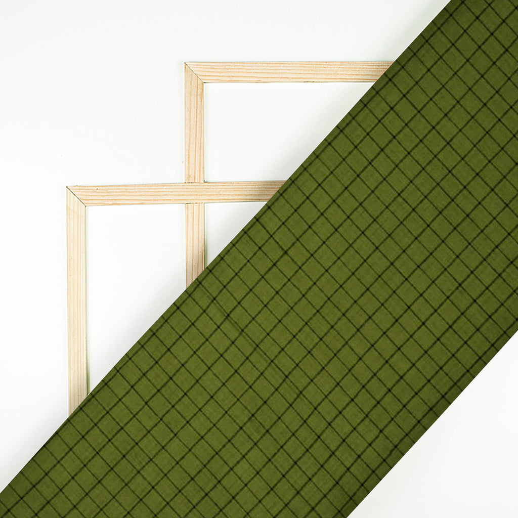 Olive Checks Pattern Loom Texture Cotton Fabric - Fabcurate