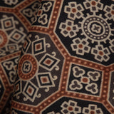 Black And Brown Traditional Pattern Ajrakh Handblock Viscose Modal Satin Fabric