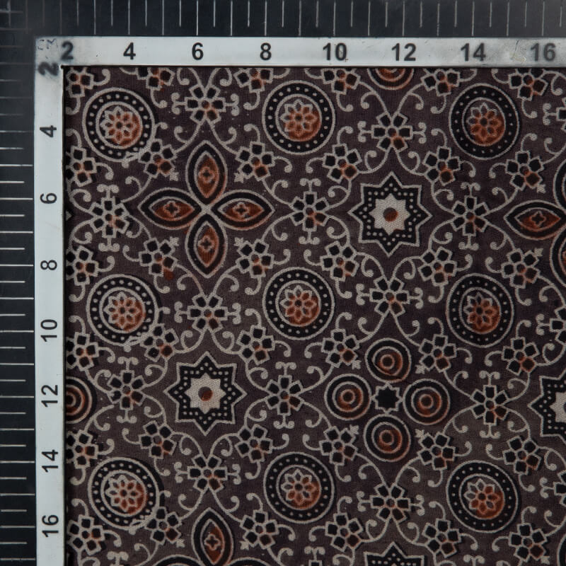 Brown Traditional Pattern Ajrakh Handblock Viscose Modal Satin Fabric