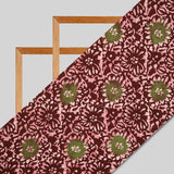 Maroon And Green Floral Pattern Kutch Wax Batik Handblock Rayon Fabric - Fabcurate