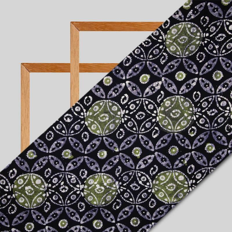 Dark Blue And Green Geometric Pattern Kutch Wax Batik Handblock Rayon Fabric