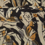 Black And Biege Kalamkari Print Handblock Silk Fabric