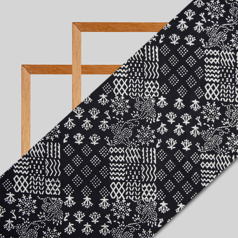 Black Monochrome Geometric Pattern Handblock Cotton Fabric