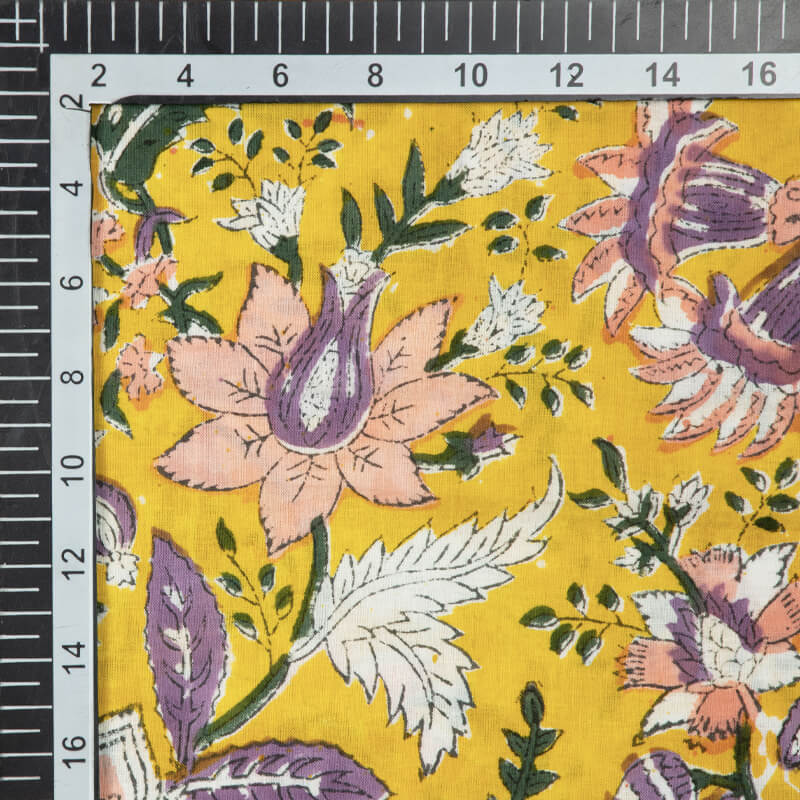 Yellow Floral Pattern Rapid Handblock Cotton Fabric