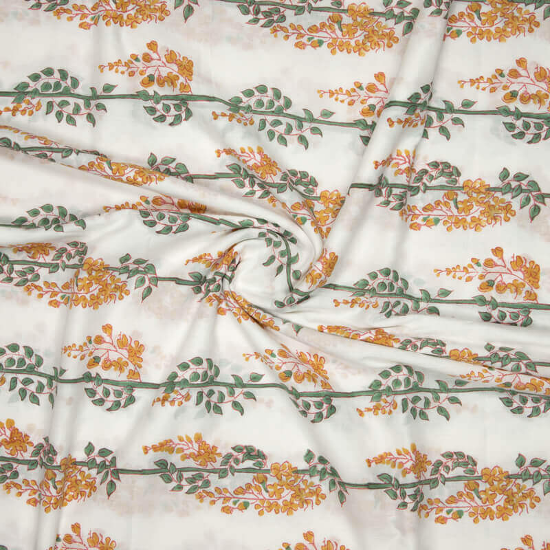 White Leaf Pattern Rapid Handblock Cotton Fabric