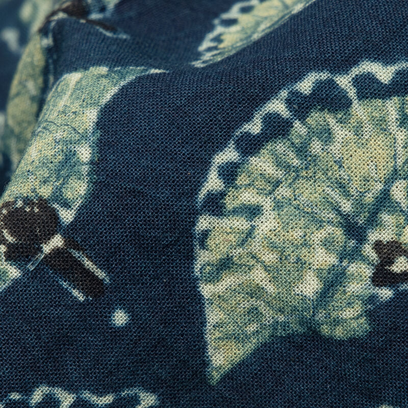 Blue Jay Floral Pattern Ajrakh Handblock Natural Dye Cotton Fabric