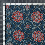 Prussian Blue And Red Traditional Pattern Ajrakh Screen Print Natural Dye Cotton Fabric