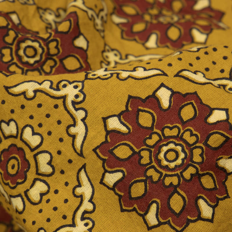 Brown Traditional Pattern Ajrakh Screen Print Natural Dye Cotton Fabric